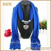 2016 Rushed Limited Solid Womens Fashion Style Jewelry Scarves Diamond Heart Pendant Scarf Necklace Charm Beads1pc Free Shipping