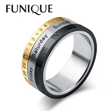3In1 Titanium Stainless Steel Rotatable Week calendar Date Ring Men's Silver Gold Black Rings Engagement Men Jewelry Punk