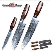 NEW 3pcs Damascus Knife Set 67 Layers Japanese Damascus Steel Vg10 Chef  Santoku Utility Kitchen Knives