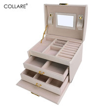 Collare Jewelry Boxes And Packaging PU Leather Storage Makeup Case Jewelry Organizer Container Boxes Cosmetic Case OB005(China)