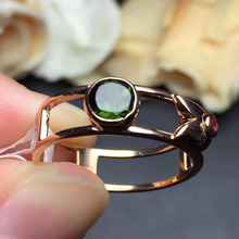 gemstone 0.55ct gold 2.26g fine jewelry 18k rose gold upclass certificated natural green Brazil tourmaline ring for women(China)