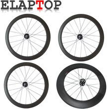 ELAPTOP 38 50 60 88mm Depth Clincher Tubular Track Fixed Gear Road Bike Racing Touring Front Wheel Carbon Bicycle Wheels(China)
