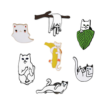 7 Style Cartoon Cute Funny Cat Enamel Brooch Creative Personality Cats Animal Brooches Pin Collar Sweater Hat Decoration Jewelry