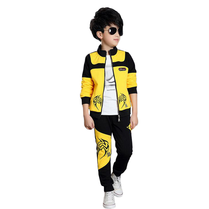 Sports Suit For A Boy Contrast Color Stitching Conjunto Menino Kids Clothes Boys Jacket  Leisure Two-piece Childrens Outfit <br>