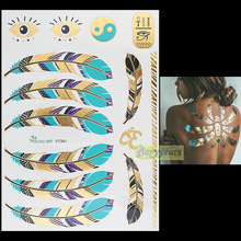 1PC Flash Gold Silver Metallic Waterproof Tattoo Women Henna VT341 Blue Feather Gold Eye Eight Diagrams Temporary Tattoo Sticker(China)