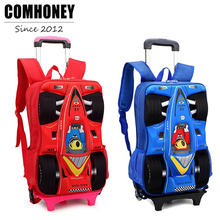 3D Car Shape Children's Backpack Trolley School Bag for Boys School Backpacks for Girls Kids Travel Rolling Luggage Schoolbags(China)