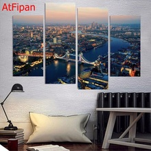 Top Fashion Waterfall Landscape 4 Panel Prints Canvas Painting Wall Art Home Decoration 4 Piece Poster For Living Room No Frame(China)