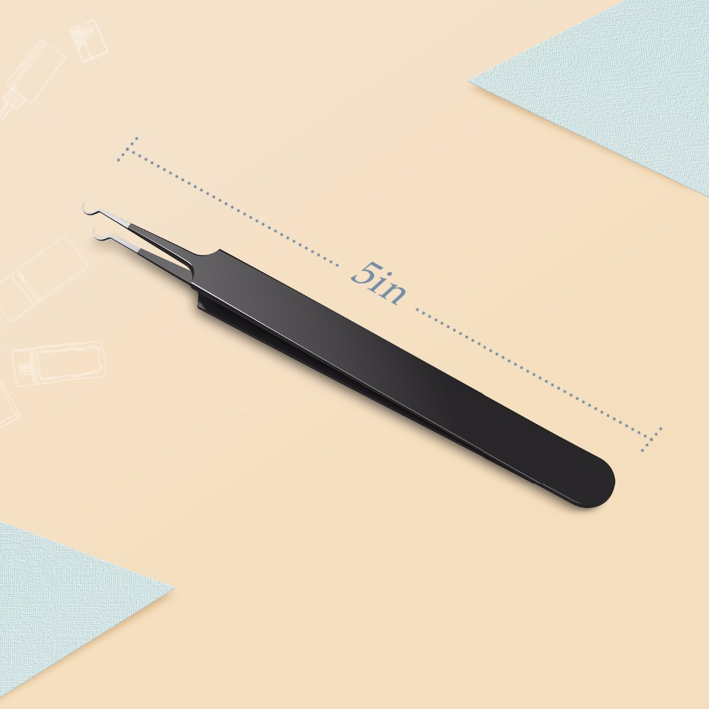 1PC Professional Blackhead Acne Tweezer Whitehead Removal Black Color Needle Extractor Curved Tweezer Face Skin Care Beauty Tool 7