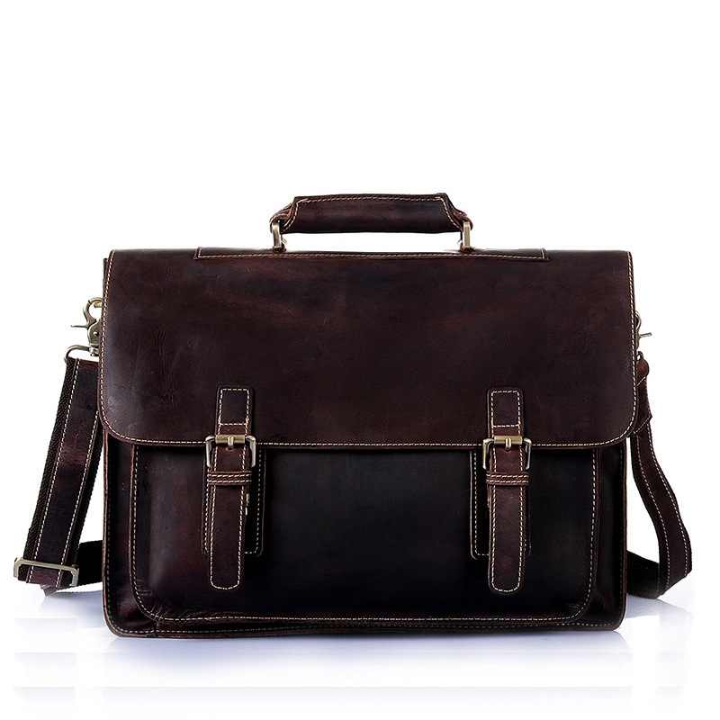 British style and making crazy horse leather handbag shoulder bag man first layer cowhide Crossbody leather laptop bag XY552(China)