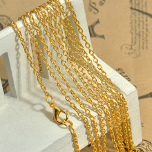 "20pcs/Lot Jewelry Necklace Oval Gold Plated Cable Chains Lobster Clasp 76cm(30"")long(China)"