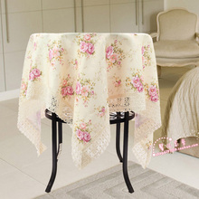2016 Lace Round table cloth Cotton Flower tablecloth for wedding christmas Floral print dustproof Home textile Pink Purple peony