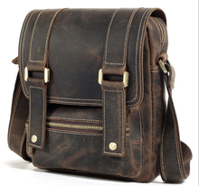 new fashion men's Genuine leather cool small vintage Casual style satchel messenger bag for ipad with flip cover(China)