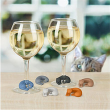 6Pcs/Set Party Silicone Suction Cup Cat Wine Glass Recognizer Label Silicone Glasses Marker Sticker Barware Kitchen Accessories