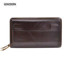 GENODERN Double Zipper Men Wallets with Phone Bag Vintage Genuine Leather Clutch Wallet Male Purses Large Capacity Men's Wallets(China)
