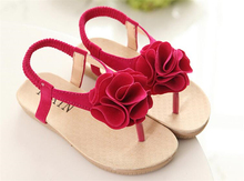 Summer Girls Sandals Kids Princess Flower Dress Shoes Children Flat With Elastic Band Beach Sandals Girls Flip Flops