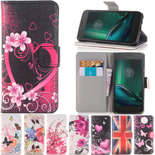 phone case for Motorola MOTO G4 PLAY E3 G G2 G3 G4 E E2 X X2 E3 pu leather butterfly pained cover flip stand wallet style found