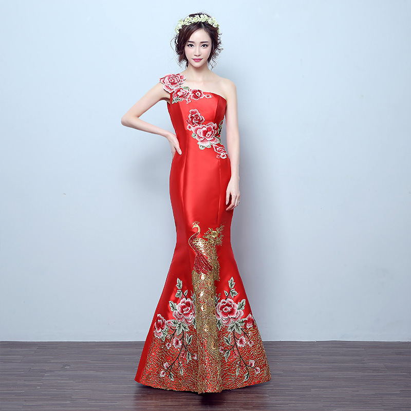 RED Mermaid Tail Asian Style Short Sleeve Fashion Embroidery Bride Wedding Qipao Long Cheongsam Chinese Traditional Dress Retro
