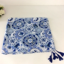 Long Scarf Women Rayon Shawl Blue And White Porcelain Print Tassels Muslim Hijab Pashminas Women Scarf Chinese Style