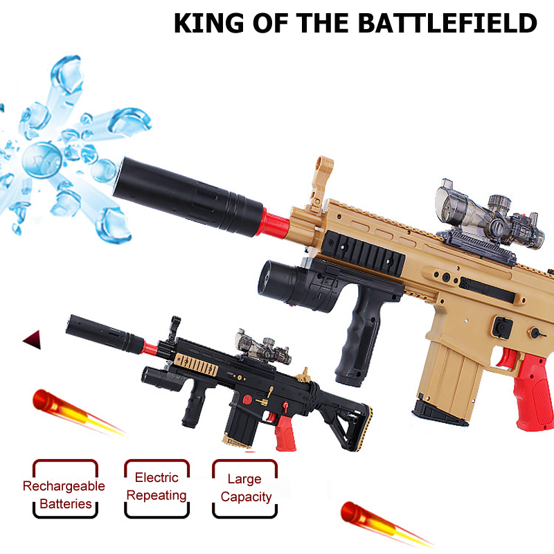 Electric Repeating Crystal Bullet Toy Gun SCAR Assault Rifle Soft &amp; Water Bullets Battlefield Hero Gun Boy Gift Idea<br><br>Aliexpress