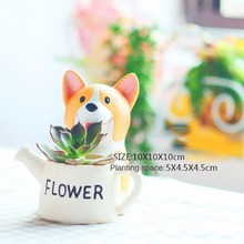 Cute & Beautiful Colorful Welsh Corgi Gardener Pots Gardening Resin Flower Pots Pet Style Gardening Pots(China)