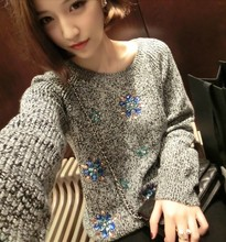 2016 New Top Fasion Wool Flat Knitted Formal Appliques Solid Pullovers Coat Luxury Gem Rhinestone Flower Pullover Sweater