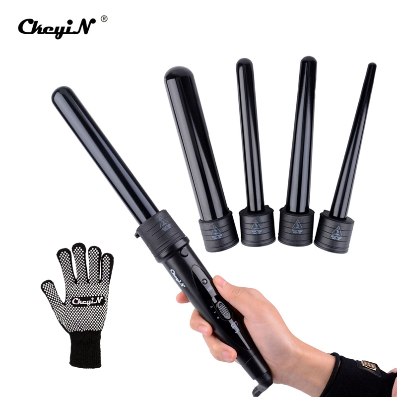 Automatic Magic 5 in 1 Multifunction Hair Curlers Rollers Curling Irons with Glove 5pcs Ceramic Pro Curler Wand Tongs Salon Tool<br>