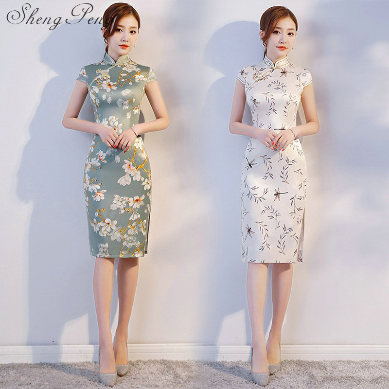 Qipao Dresses 2018 Spring New Daily Maidens Improved Fashion Short Dress Chinese Collar Cheongsam Vestido Oriental CC504