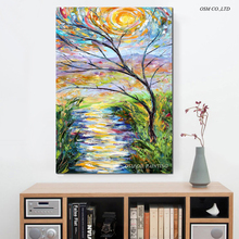 Free Shipping High Quality Hand Painted Abstract Bright Colours Landscape Oil Painting On Canvas Abstract Sky And Trees Painting