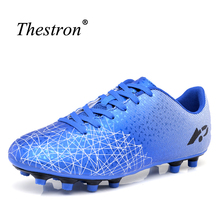 Thestron Football Boots Men Green Orange Soccer Cleats Kids Non-Slip Turf Soccer Shoes Cheap Boys Outdoor Cleats(China)