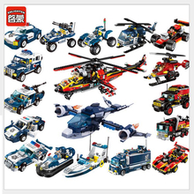 Enlighten Building Block City SWAT Police Station Headquarter Helicoper Cruiser Car with Minifigs Bricks-Without Original Box