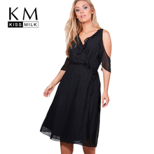 Kissmilk Women Plus Size Cold Shoulder V Neck Ruffled Dress High Waist Tie Basic Dress Solid Large Size Loose Casual Dress(China)