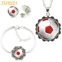 TAFREE classic fashion Football charm necklace earrings bracelet set soccer player sports jewelry sets for women ball fans SP709(China)