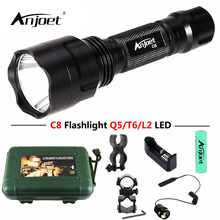 ANJOET C8 tactical flashlight Red / Green / White light XML T6 Q5 L2 LED 1200LM Aluminum 1 Mode/5 Mode Bicycle Torches Lamp Kit