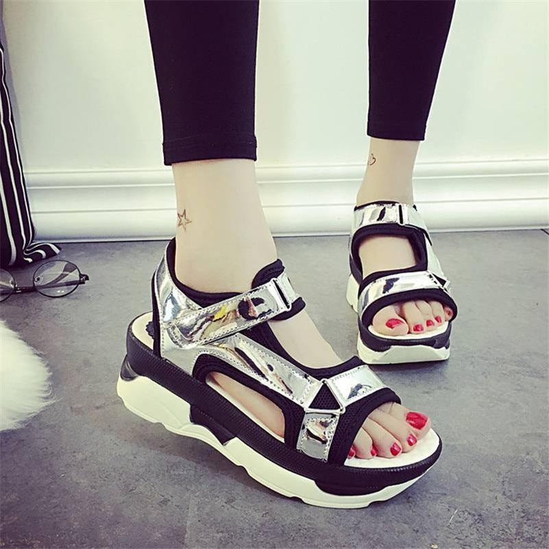 Sandals Womens Leisure Platform Sandals New 2017 Fashion Cutout Thick Heels Summer Rome Sandalias Zapatos Shoes <br><br>Aliexpress