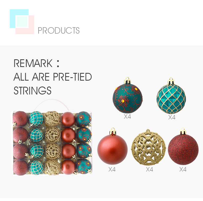 04 inhoo 6cm Christmas tree decorations Balls Ornaments Pendant 20pcs Red green white gold Ball Accessories For Home Xmas Party Hot