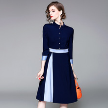 2017 European Women's New Nine Station Early Autumn Collar Sleeve Single Breasted Color Thin Temperament Dress.(China)