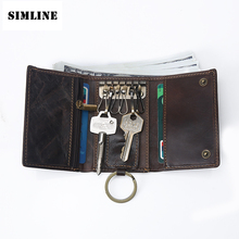Vintage Multi Function 100% Genuine Leather Cowhide Men Car Key Wallet Wallets Card Holder Bag Coin Purse Housekeeper Organizer