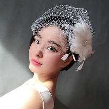 Free shipping Bridal veil small fedoras hair accessory white feather flower veil hairpin hair accessory hair accessory(China)