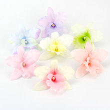 20PCS Handmade Colorful 8CM Silk Orchid Artificial Flowers Head For Home Party Wedding Car Decoration Scrapbooking Fake Flowers