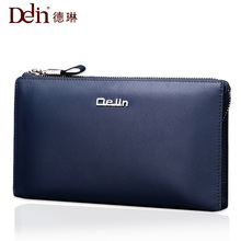 De Lin men's wallet leather long section layer of leather men's zipper wallet men's hand bag couple models wallet tide(China)