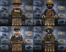 4pcs Modern War American Recon Support Engineer Squad Navy Swat Army  City Officer Figure Compatible With Lego Block