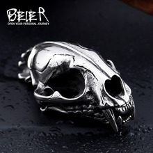 Beier new store 316L Stainless Steel pendant necklace 3D Machairodus Smilodon Dinosaur Head Pendants jewelry LLBP8-096P(China)