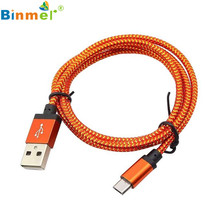 Factory Price Binmer 1M/3ft Micro USB A to USB 2.0 B Braided Fast Data Sync Charger Cable Cord Free Shipping Charger Cable