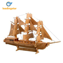 LeadingStar 3D European Sail Boat Model Wooden Puzzle Educational Jigsaw Toy for Children Intelligence Development Gift Toys(China)