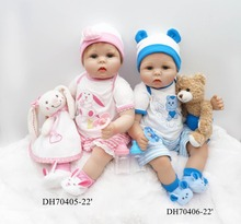 "New 22"" Toddler Reborn Twins Doll juguetes of Lifelike & Realistic Reborn Baby Twins Doll brinquedos Christmas Birthday Gifts(China)"