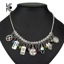 DIY Movie Jewelry X-MEN Crystal Beads Pendant Fashion Necklace Christmas Gift For Fans Friends Factory Direct Top Summer Sale(China)