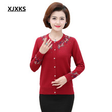 XJXKS Cardigan Women Hand knitted Autumn Winter Female Cardigans Long Sleeve Ladies knit Fashion Warm Print Jumpers 3310(China)