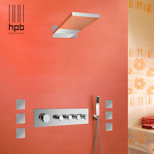 HPB Brass Thermostatic Bathroom Water Mixer Wall Mounted Bath Shower Panel Set With Body Spray Faucet torneira banheiro HP2211