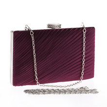 Dinner Bag with Metal Chain Wrinkled Fabric Stylish Women Evening Bags Unique Exquisite Girl Lady Wedding Party Clutches Handbag(China)