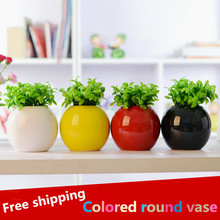 Wholesale! Fashion ceramic arts and crafts colour round vase and flower green bean sprout home decoration arrange flowers